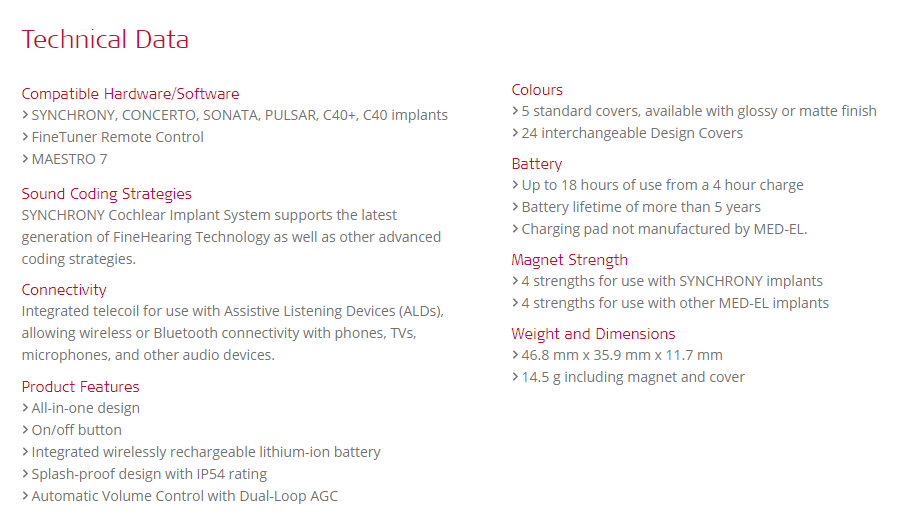 RONDO 2 technical specifications