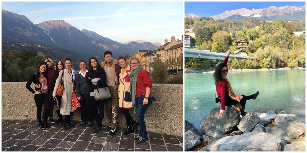 Foto2: City Tour em Innsbruck, pessoas em frente às montanhas. Foto 3: Sheila Contemplando o Rio Inn, sentada sobre pedras à margem, com montanhas ao fundo.