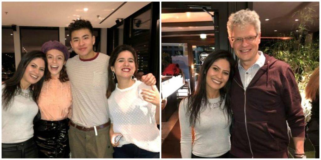 Foto 6 três moças e um rapaz que usam implante coclear. Foto 7; Marcus Schmidt diretor de marketing MED-EL_ Lichtblick Restaurant