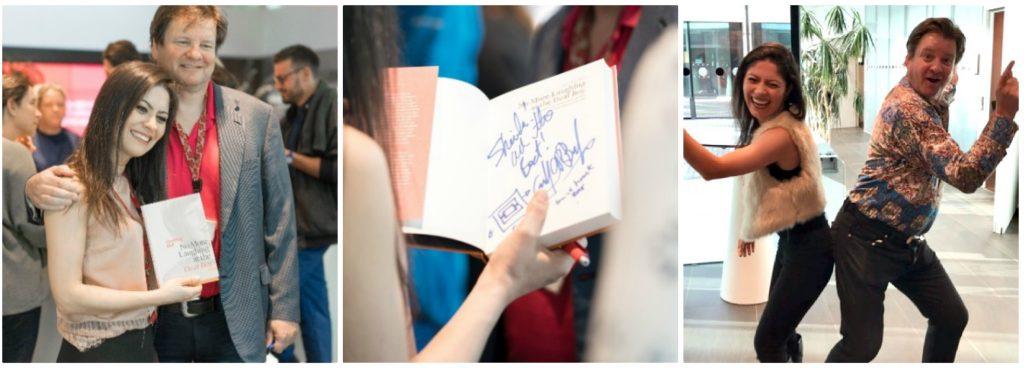 Foto 9: Geoffrey Ball autografa a biografia e dança samba com Sheila.