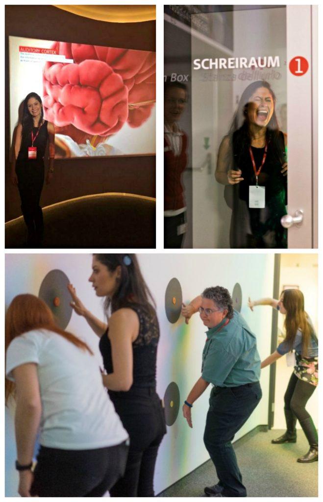 FOTO 8: Museu AUDIOVERSUM. Sheila em sala de apresentação, usando a cabine do grito e em atividades do museu