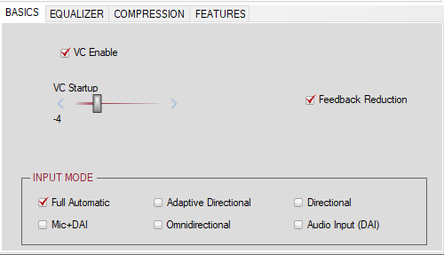 Figure 9 Default Settings for ADHEAR